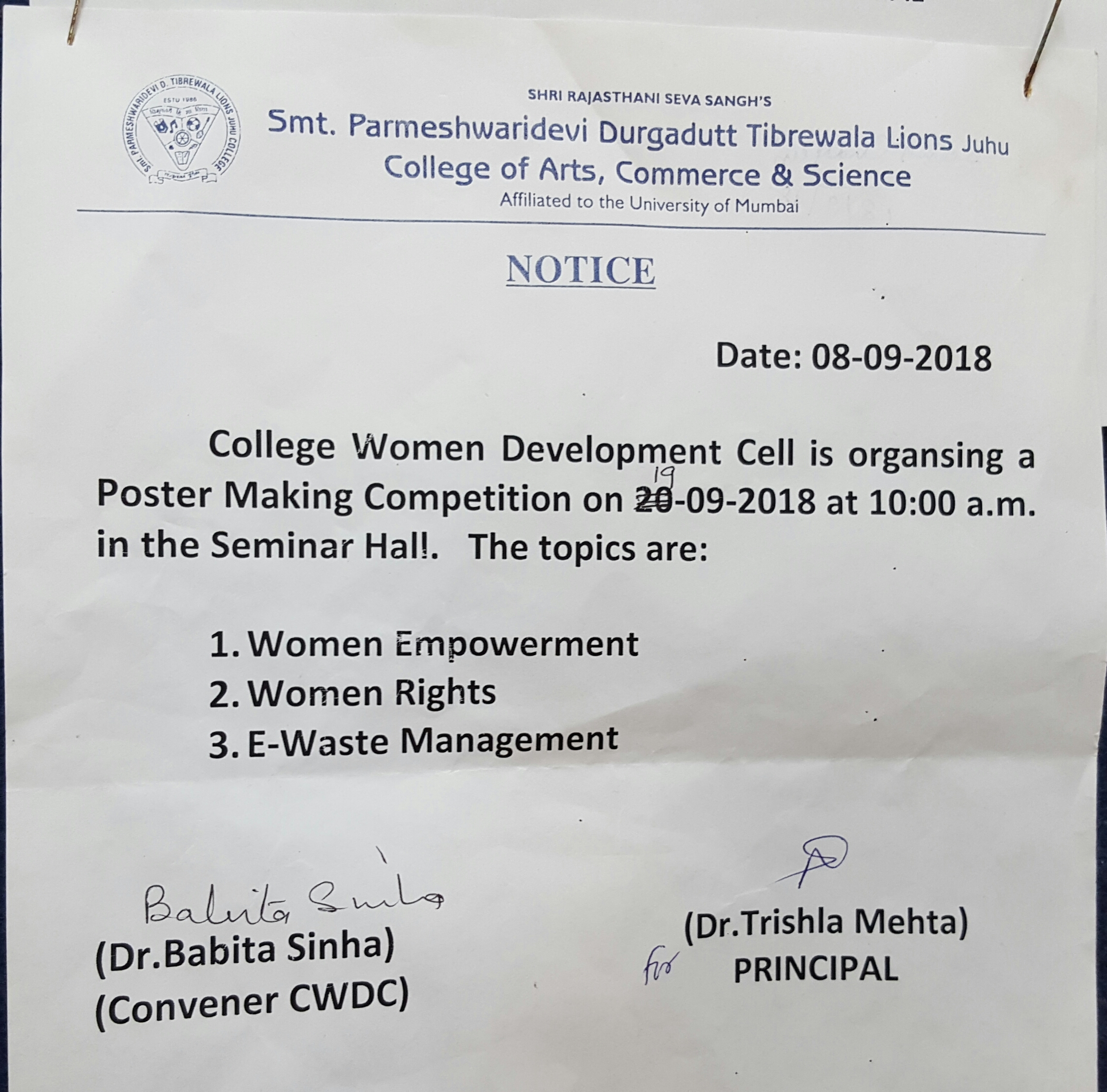 College Women Development Cell (CWDC) organised a 'Poster
